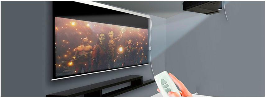 Pantalla automatica de gran formato para video proyector for Pantalla proyector electrica