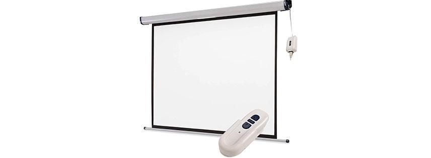 Pantalla retractil con sistema el ctrico para video for Pantalla proyector electrica